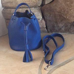 Cobalt blue leather bucket bag by KC Jagger